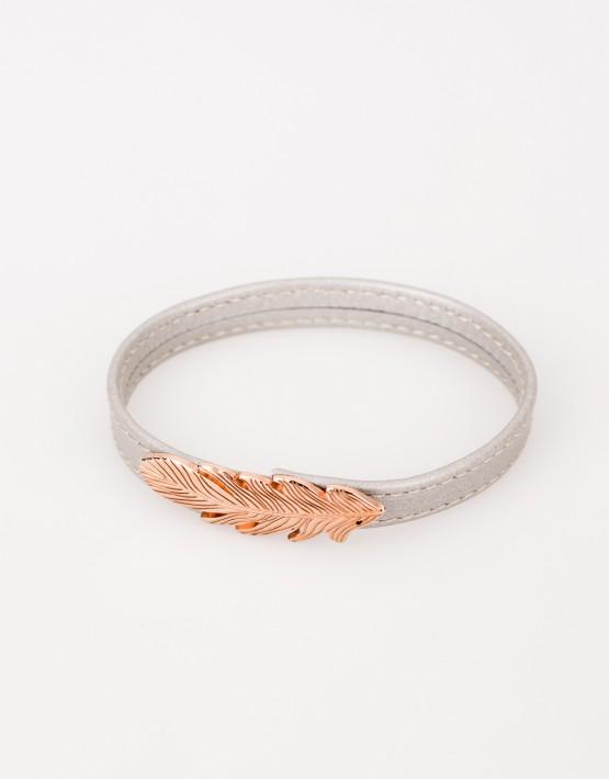 bracelet cuir plume or rose offrande. Black Bedroom Furniture Sets. Home Design Ideas